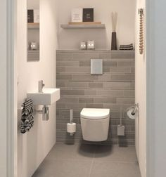 Small Toilet Design, Bathroom Design Small, Bathroom Interior Design, Small Bathrooms, Cloakroom Ideas Small, Modern Toilet Design, Interior Ideas, Toilet Room Decor, Small Toilet Room