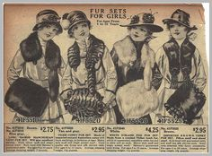 1916 fur sets for girls, Sears