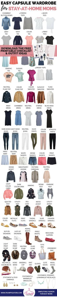 The Ultimate Mom Casual Capsule Wardrobe Plan (printable checklist) + How to Build a Wardrobe from Scratch, SPRİNG OUTFİTS, Free guide on how to build a wardrobe! The best clothes for on-the-go mom-friendly The checklist includes a wa. Capsule Wardrobe Mom, Mom Wardrobe, Build A Wardrobe, Wardrobe Ideas, Wardrobe Staples, Mom Outfits, Spring Outfits, Casual Outfits, Casual Wear