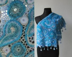 Ivory Beige Crochet Shawl, Freeform Crochet, Irish Crochet, Bolero Shrug, Scarf…