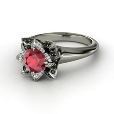 Round Ruby 14K White Gold Ring with Diamond & Black Diamond This would be a cool non traditional engagement ring. :)