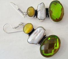 Stunning Earrings with Genuine Viva, Mystic Quartz & Onyx Retail price: $70  OUR PRICE: $20 http://wheredidyoubuyit.bigcartel.com/product/stunning-earrings-with-genuine-viva-mystic-quartz-onyx