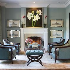 Elegant Transitional Living & Family Room by Jeffrey and Deborah Fisher