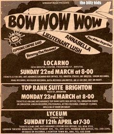 Image result for bow wow wow feat lieutenant lush april 12 1981