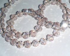 """Sparkling lightly shaded pale pink AB crystal bead necklace.  15.1/4"""" long (39cm)"""