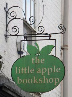 Pub and Shop Signs - the little apple bookshop. Web Banner Design, Storefront Signs, Pub Signs, Apple Books, Store Signs, Old Books, Hanging Signs, Book Nooks, Library Books