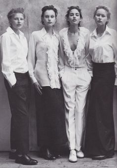 Caroline Eggert, Martina Klein, Natalia Semanova and Rebekka Botzem by Peter Lindbergh for Vogue Italia May 1997