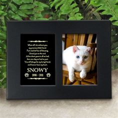 'Golden Memories' Personalized Pet Cat Memorial Picture Frame | EtchedInMyHeart.com | Satin Black Finish - $19.95
