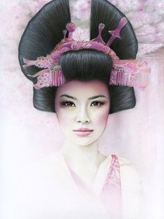 Geisha by Beck Winnel.  Bec Winnel creates unique feminine portraits, delicately detailed and dosed with sensuality and emotion, created by blending layer upon layer of various mediums including acrylic, colour pencil, graphite and pastel.    Her artworks have been described as melancholy souls, staring out at you through disguised, beautiful faces.  She achieves her dreamy ambiance and delicate color pallet through blending layer upon layer of mixed mediums.