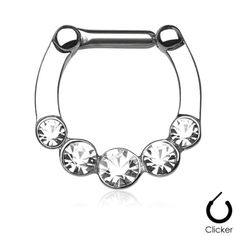 Clear cz Row of Gems round Septum Clicker Nose Ring Hoop Stainless Surgical Steel Jewelry piercing 16g