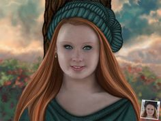 Portrait d'une jeune fille sur fond de couché de soleil. Commandez le votre sur portrait-perso.com