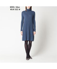 WOMEN CASHMERE BLENDED TURTLE NECK DRESS $40