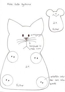 Artesanato e Cia : gato de feltro (porta-tesoura e alfineteiro)