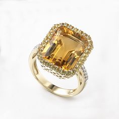 Emerald Cut Citrine Ring with Yellow Sapphires and Diamonds, 14K Yellow Gold