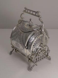 Unusual Silver Plated English Biscuit Box - Registered May 1882