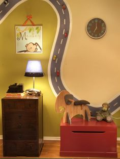 Do the road with magnetic paint and add magnets to the cars. Playroom ~ cool kids room or playroom idea Boys Room Decor, Boy Room, Kids Bedroom, Kids Rooms, Bedroom Wall, Kids Decor, Child's Room, Bedroom Decor, Wall Decor