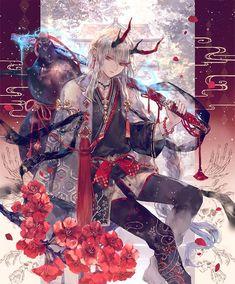 Card: Shuten-Doji Chica Anime Manga, Anime Chibi, Kawaii Anime, Cute Anime Boy, Anime Guys, Fantasy Character Design, Character Art, Demon Manga, Bleach Art