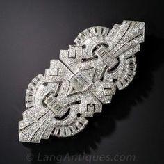Art Deco Platinum and Diamond Clips/Brooch