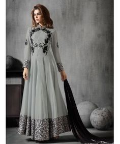 Grey Georgette Embroidered Anarkali Suits..