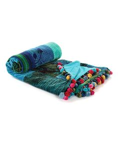 Look what I found on #zulily! Blue Velvet Patch Whimsical Kantha Throw #zulilyfinds