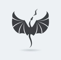 Flying Dragon logo vector art illustration