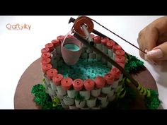 DIY 3D quilling wishing well | Paper quilling well | quilling miniature - YouTube