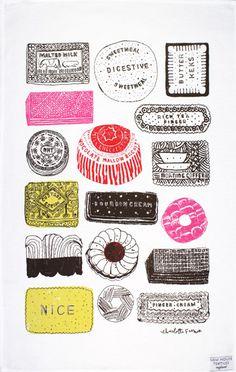 Family Favourites tea towel by Charlotte Farmer - Designer tea towels from ToDryFor.com