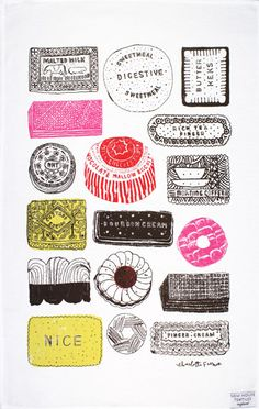 Family Favourites tea towel by Charlotte Farmer - Designer tea towels from ToDryFor.com
