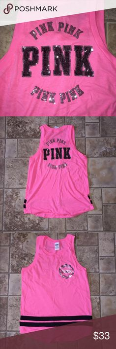 VS PINK Bling Top ~New without tags!  ~holographic on front ~bling on back ~perfect condition   ****Bundle and save**** ****New items added daily**** PINK Tops Muscle Tees
