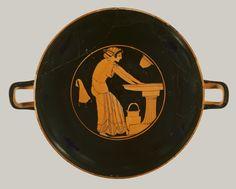 Terracotta kylix (drinking cup)  Attributed to Douris Period: Archaic Date: ca. 500 B.C. Culture: Greek, Attic Medium: Terracotta; red-figure Dimensions: H. 4 7/16 in. (11.2 cm)