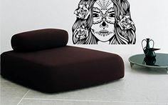 Wall Decal Vinyl Sticker Art Decor Sugar Scull Face Girl Roses Tattoo Modern V136 CreativeWallDecals http://www.amazon.com/dp/B00VA6NEKG/ref=cm_sw_r_pi_dp_xw6fvb1RKXRVJ