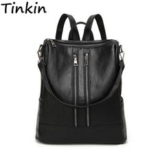 Cheap backpack simple, Buy Quality leather women backpack directly from China women backpack Suppliers: Tinkin PU leather Women Backpack Simple Casual Schoolbag Medium Size Daypack Girl's Daily Bag Vintage Mochila Casual Rucksack Backpacks, backpacks for teens, backpacks for women, backpacks for college, backpacks travel, backpacks & duffles, backpacks and bags #backpacking #backpacks #backpack #womenbackpack