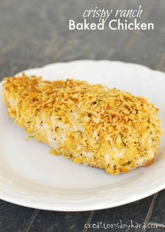 Recipe for crispy baked chicken with parmesan cheese and ranch crumb topping