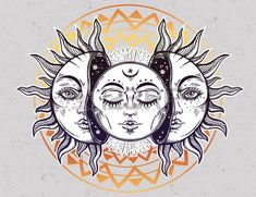 Vector illustration of Moon and Sun with faces. photo