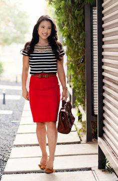 ann taylor lace stripe top, red pencil skirt, sole society elisa suede bow pump, alexa bag look-a-like, outfit #ootd | petite fashion by kileencheng, via Flickr