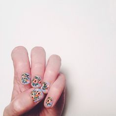 floral nails! (I guess this is what I paint when I'm stuck on card ideas). @essie lilacism base with gouache painted flowers & sealed with top coat #riflepaperco #essielook | Anna Bond @annariflebond | Webstagram