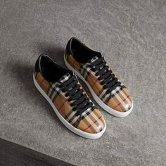 Vintage Check and Leather Sneakers in Antique Yellow - Women 2f72dc7864b