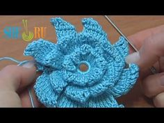 ▶ Crochet Pinwheel Layered Folded Petal Flower Tutorial 17 - YouTube