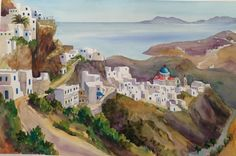 "Staggering Heights on Serifos, Greece. 22"" X 15"" Watercolor by Leslie Greenetz 2015"