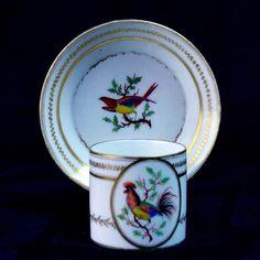 Paris Tasse Litron Porcelaine Fin 18ème Coq & Oiseau