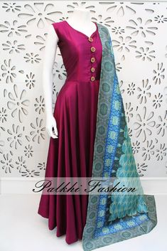 PalkhiFashion Exclusive Full Flair Dark Magenta Satin Silk Outfit with Elegant Print Duppata.