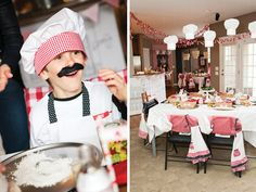 Chef's hats as hanging decorations, in place of balloons.