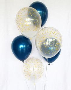Welcome to Sweet Escapes By Debbie This listing is for 3 navy and 3 clear with gold stars 11 latex balloons. ~ Balloons ship flat & deflated ~ The balloons arrive in a flat package they need to be inflated. For helium you can take them to your local party store or supermarket and they can fill for a nominal fee (they will include a ribbon). If it is air filled it will NOT float. ~Balloons should not be overfilled as they may pop.