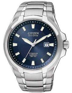 Citizen Eco-Drive Mens Titanium Watch - Blue Dial - Date Window - 100M WR