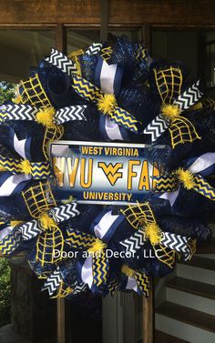 West Virginia University Wreath-Football-Sports by DoorandDecor