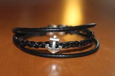 """""""NOUVEAUTE"""" bracelet en cuir noir ancre marine fermoir aimanté : Bracelet par isabond007"""
