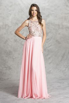 Prom Dress APL1468 Full Length A-Line Prom Dress has Jewel Neckline, Illusion Bodice with Patterned Sequins and Beading Throughout featuring Embellished Waistline and Deep V Open Back with Sequin Trim and Zipper Closure, Flowing Long Skirt. https://www.smcfashion.com/wholesale-prom-dresses/prom-dress-apl1468