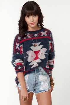 Cute Fuzzy Sweater - Blue Sweater - Southwest Sweater - $47.00