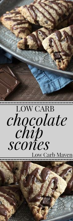 Low Carb Chocolate Chip Scones are a great GF keto snack or breakfast.