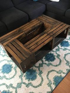 Rustic Pallet Style Wooden Crate Coffee Table The post Rustic Pallet Style Wood. - Rustic Pallet Style Wooden Crate Coffee Table The post Rustic Pallet Style Wooden Crate Coffee Tab - Large Wooden Crates, Wooden Crate Coffee Table, Diy Wooden Crate, Diy Coffee Table, Decorating Coffee Tables, Diy Table, Coffee Table Out Of Crates, Wood Table, Diy Pallet Furniture